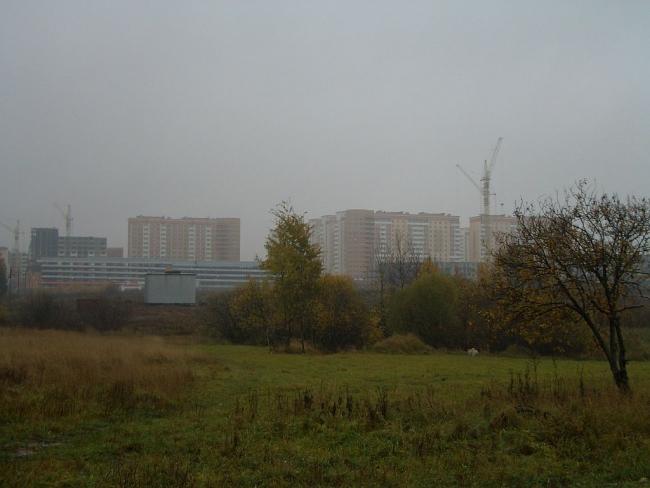 """Вид-2 на ЖК """"Дубки"""" с пруда, запечатлённый в октябре 2005 года"""