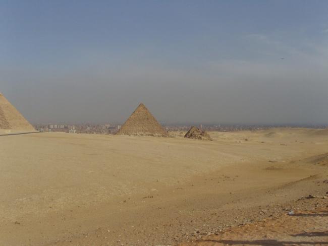 Египет. Каир. Вид на город через пирамиды, фото-2...