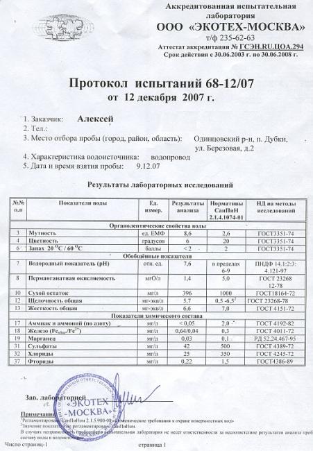 Анализ воды в Дубках в декабре 2007, стр.1