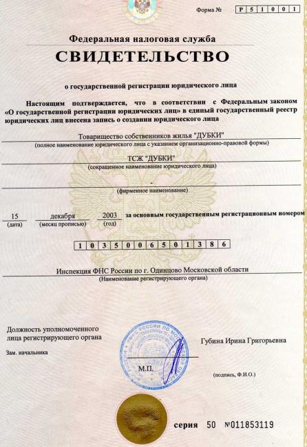 Свидетельство (действующее) о регистрации юридического лица