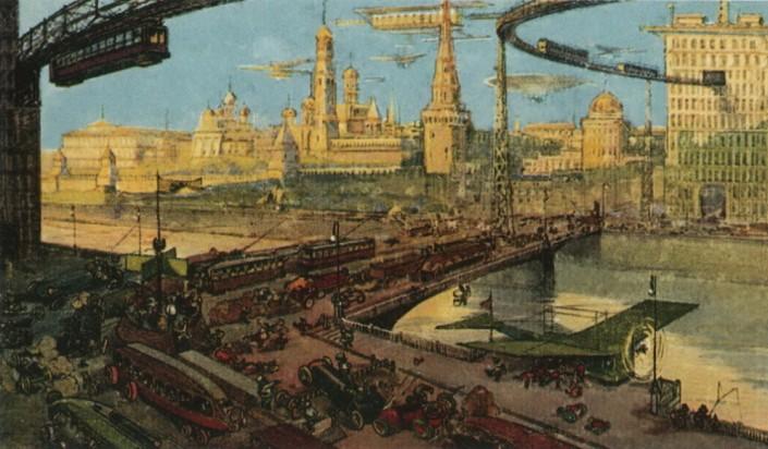 Иллюстрация: Москва будущего. Открытки фабрики «Эйнем». 1914 г.